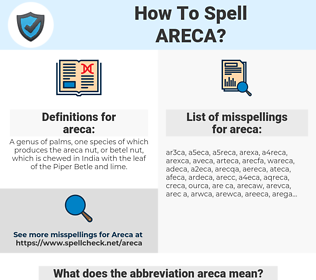 areca, spellcheck areca, how to spell areca, how do you spell areca, correct spelling for areca