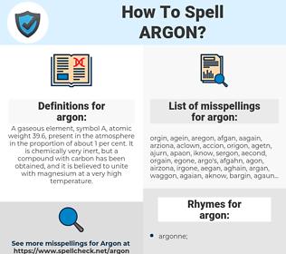 argon, spellcheck argon, how to spell argon, how do you spell argon, correct spelling for argon