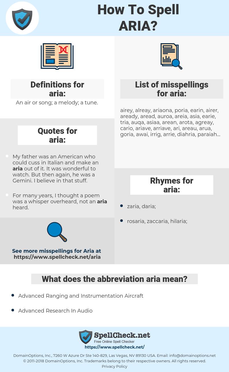 aria, spellcheck aria, how to spell aria, how do you spell aria, correct spelling for aria