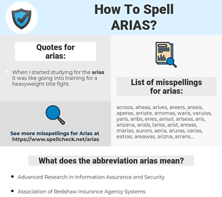 arias, spellcheck arias, how to spell arias, how do you spell arias, correct spelling for arias