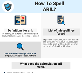 aril, spellcheck aril, how to spell aril, how do you spell aril, correct spelling for aril