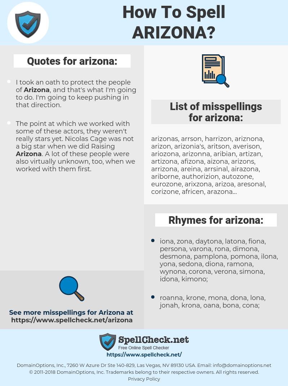 arizona, spellcheck arizona, how to spell arizona, how do you spell arizona, correct spelling for arizona