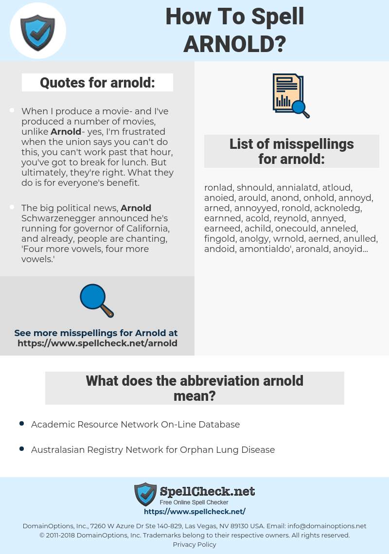 How To Spell Arnold (And How To Misspell It Too