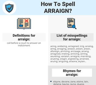 arraign, spellcheck arraign, how to spell arraign, how do you spell arraign, correct spelling for arraign