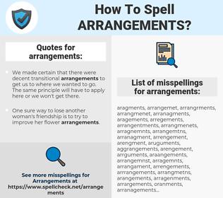 arrangements, spellcheck arrangements, how to spell arrangements, how do you spell arrangements, correct spelling for arrangements