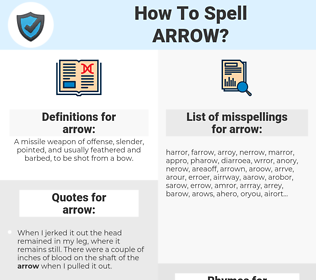 arrow, spellcheck arrow, how to spell arrow, how do you spell arrow, correct spelling for arrow