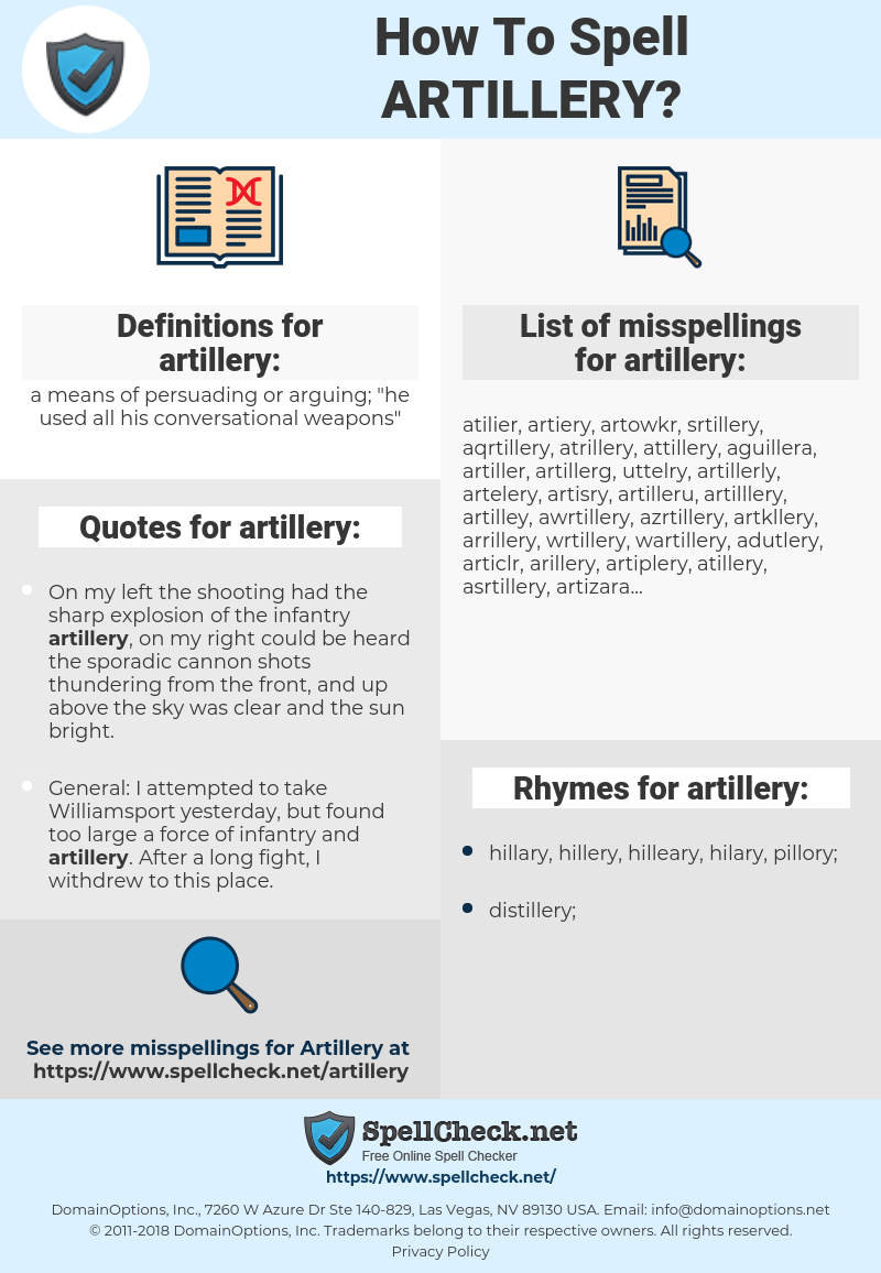 artillery, spellcheck artillery, how to spell artillery, how do you spell artillery, correct spelling for artillery
