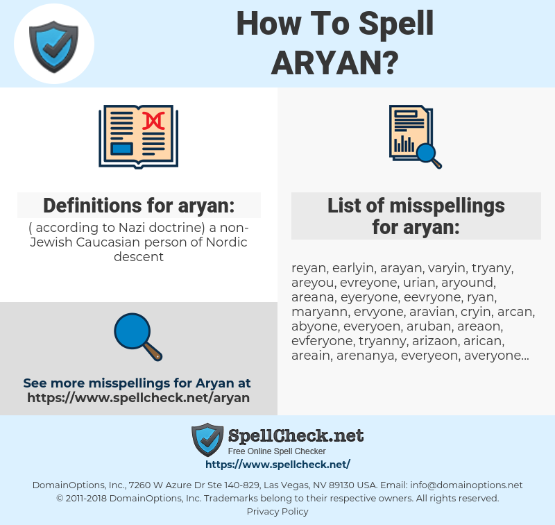 aryan, spellcheck aryan, how to spell aryan, how do you spell aryan, correct spelling for aryan