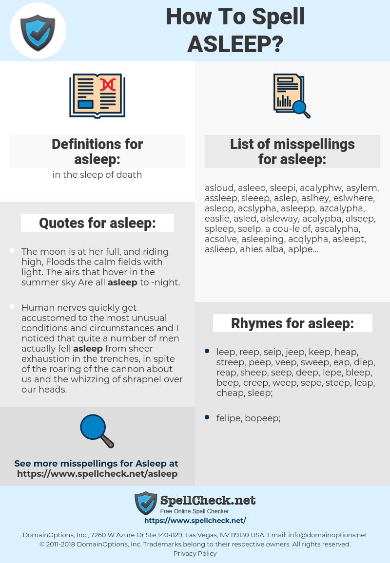 asleep, spellcheck asleep, how to spell asleep, how do you spell asleep, correct spelling for asleep