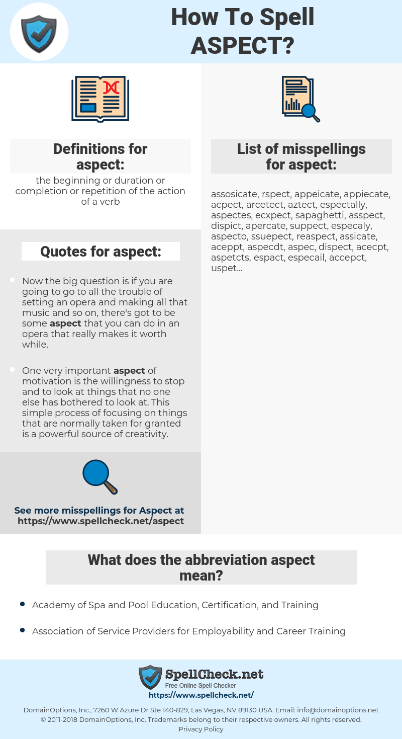 aspect, spellcheck aspect, how to spell aspect, how do you spell aspect, correct spelling for aspect