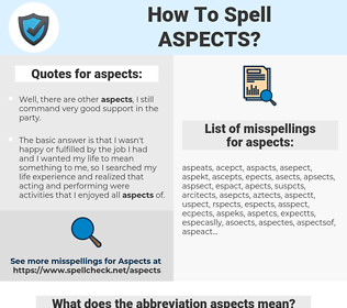 aspects, spellcheck aspects, how to spell aspects, how do you spell aspects, correct spelling for aspects