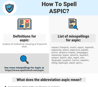 aspic, spellcheck aspic, how to spell aspic, how do you spell aspic, correct spelling for aspic