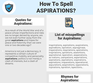 Aspirations, spellcheck Aspirations, how to spell Aspirations, how do you spell Aspirations, correct spelling for Aspirations