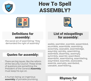 assembly, spellcheck assembly, how to spell assembly, how do you spell assembly, correct spelling for assembly
