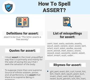 assert, spellcheck assert, how to spell assert, how do you spell assert, correct spelling for assert