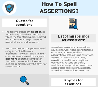 assertions, spellcheck assertions, how to spell assertions, how do you spell assertions, correct spelling for assertions