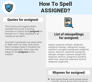 assigned, spellcheck assigned, how to spell assigned, how do you spell assigned, correct spelling for assigned