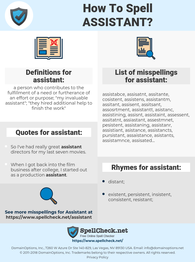 assistant, spellcheck assistant, how to spell assistant, how do you spell assistant, correct spelling for assistant
