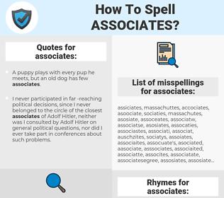 associates, spellcheck associates, how to spell associates, how do you spell associates, correct spelling for associates