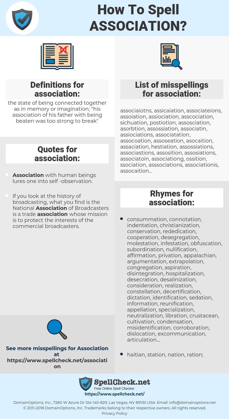 association, spellcheck association, how to spell association, how do you spell association, correct spelling for association