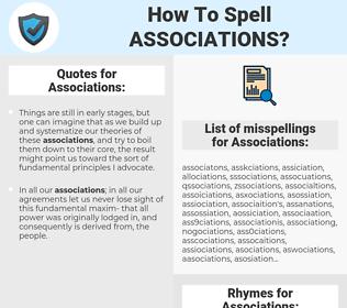 Associations, spellcheck Associations, how to spell Associations, how do you spell Associations, correct spelling for Associations