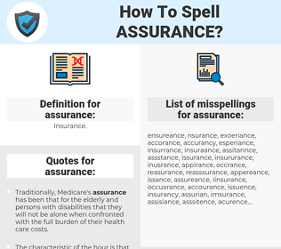 assurance, spellcheck assurance, how to spell assurance, how do you spell assurance, correct spelling for assurance