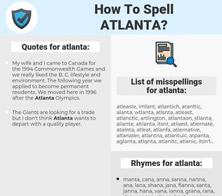 atlanta, spellcheck atlanta, how to spell atlanta, how do you spell atlanta, correct spelling for atlanta