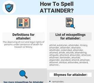 attainder, spellcheck attainder, how to spell attainder, how do you spell attainder, correct spelling for attainder