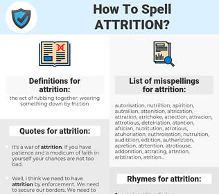 attrition, spellcheck attrition, how to spell attrition, how do you spell attrition, correct spelling for attrition