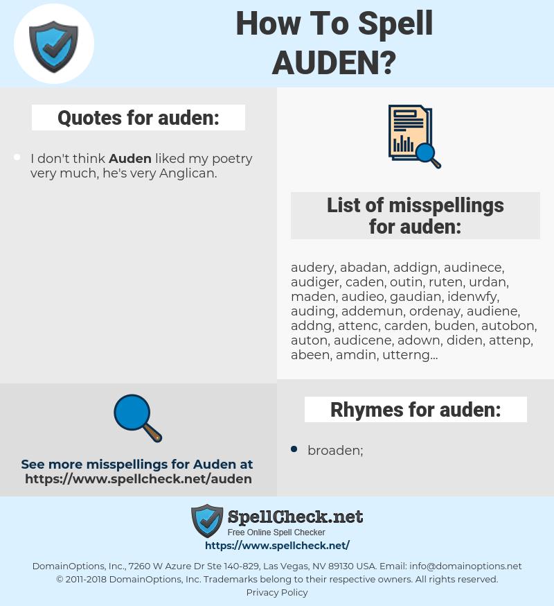 auden, spellcheck auden, how to spell auden, how do you spell auden, correct spelling for auden