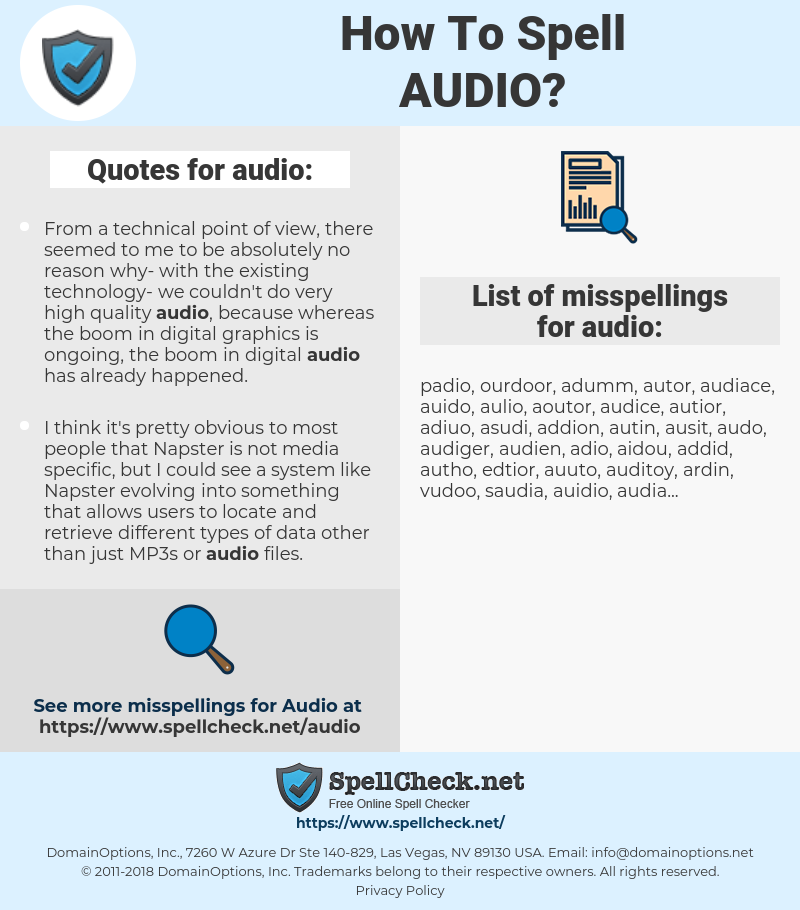 audio, spellcheck audio, how to spell audio, how do you spell audio, correct spelling for audio