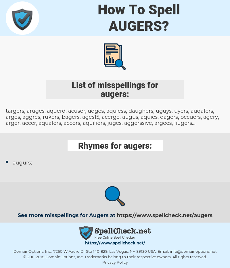 augers, spellcheck augers, how to spell augers, how do you spell augers, correct spelling for augers