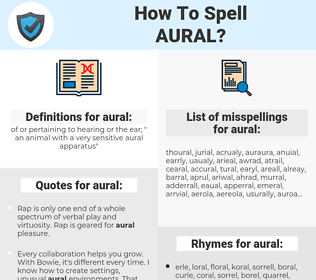 aural, spellcheck aural, how to spell aural, how do you spell aural, correct spelling for aural