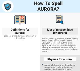 aurora, spellcheck aurora, how to spell aurora, how do you spell aurora, correct spelling for aurora