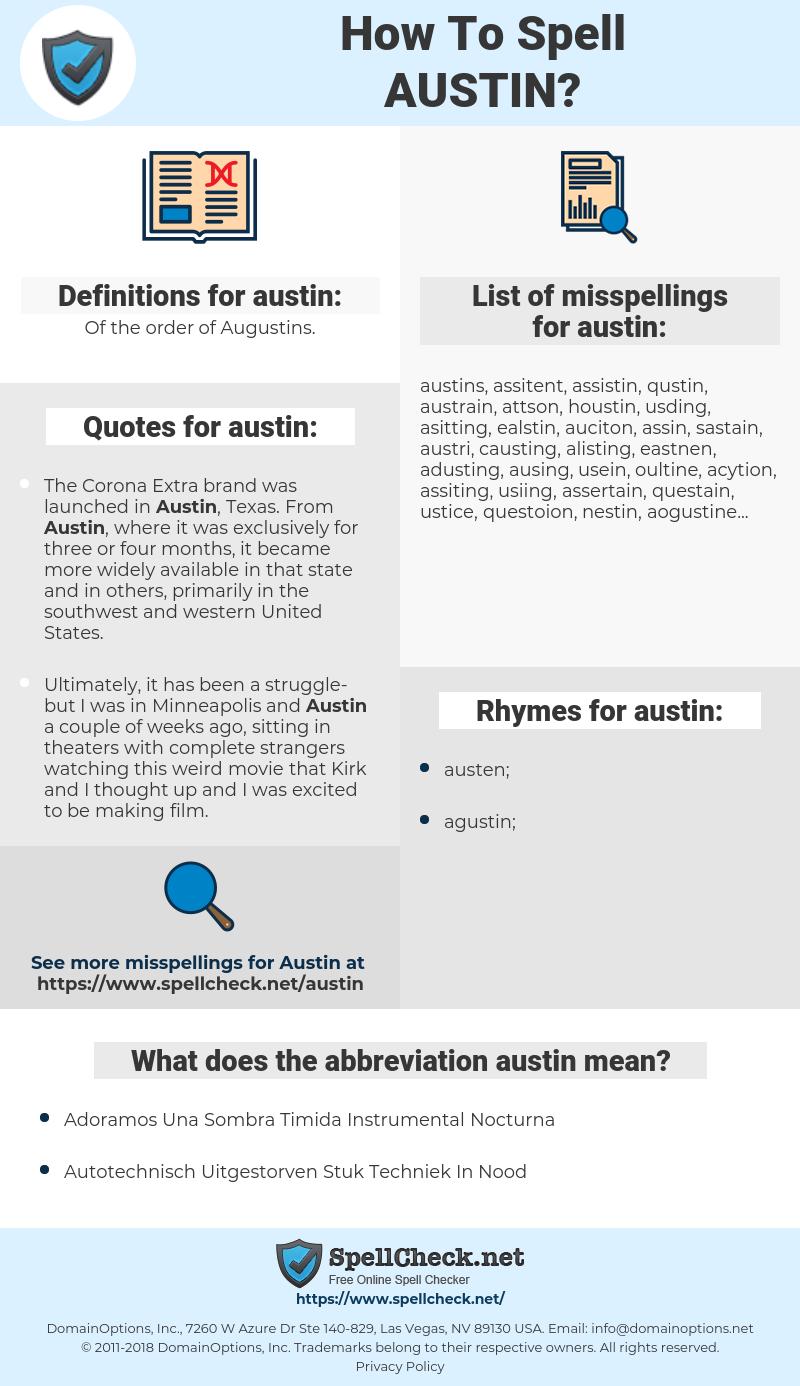 austin, spellcheck austin, how to spell austin, how do you spell austin, correct spelling for austin