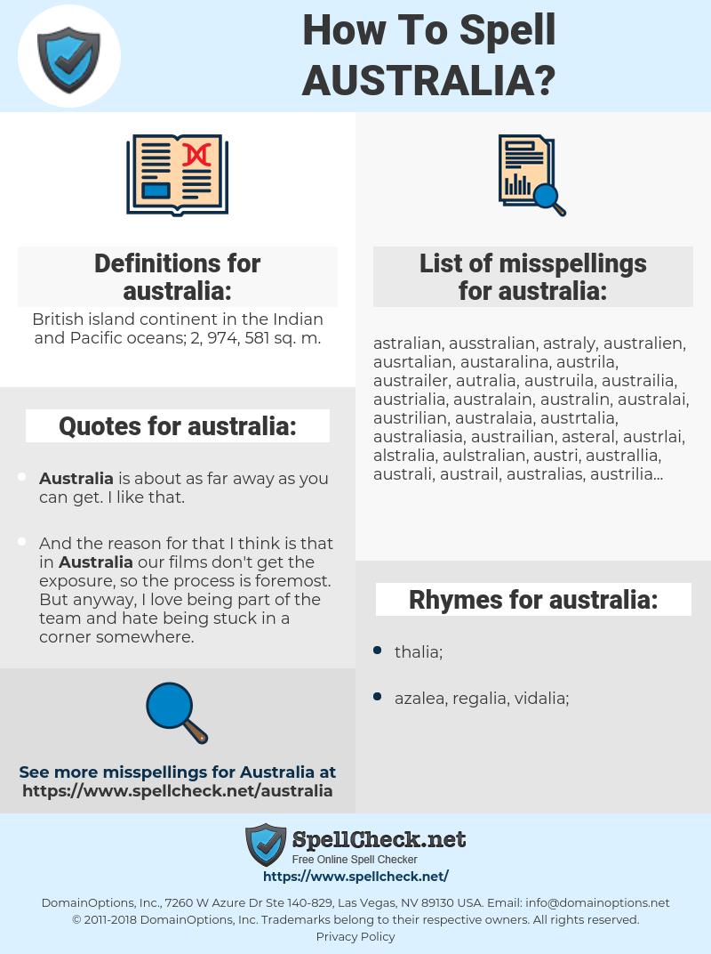 australia, spellcheck australia, how to spell australia, how do you spell australia, correct spelling for australia