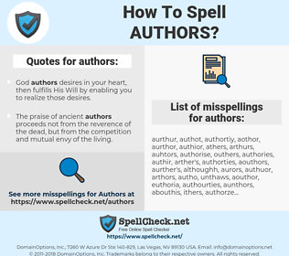 authors, spellcheck authors, how to spell authors, how do you spell authors, correct spelling for authors