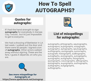 autographs, spellcheck autographs, how to spell autographs, how do you spell autographs, correct spelling for autographs