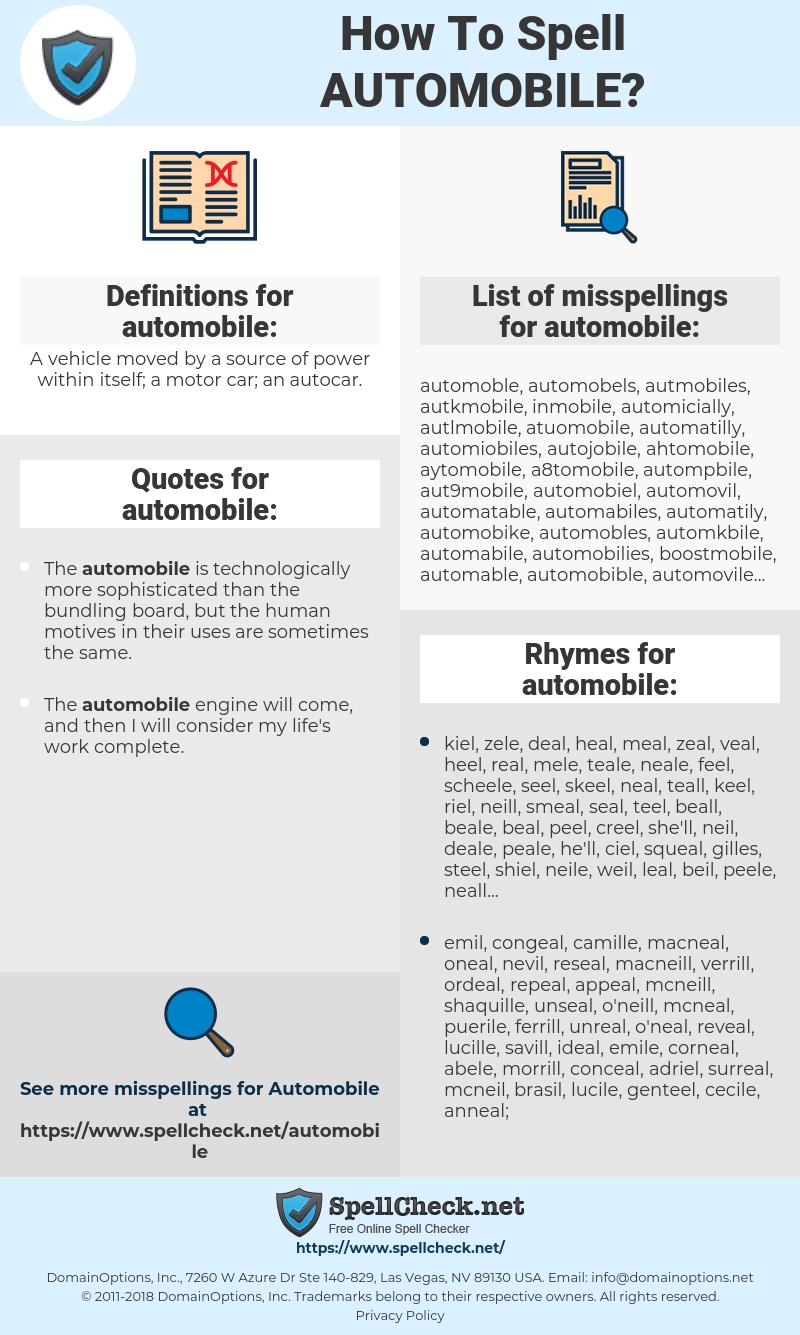 automobile, spellcheck automobile, how to spell automobile, how do you spell automobile, correct spelling for automobile