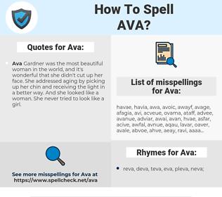 Ava, spellcheck Ava, how to spell Ava, how do you spell Ava, correct spelling for Ava