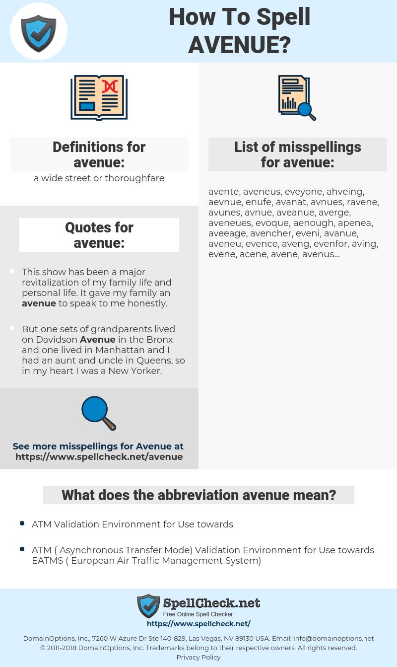 avenue, spellcheck avenue, how to spell avenue, how do you spell avenue, correct spelling for avenue