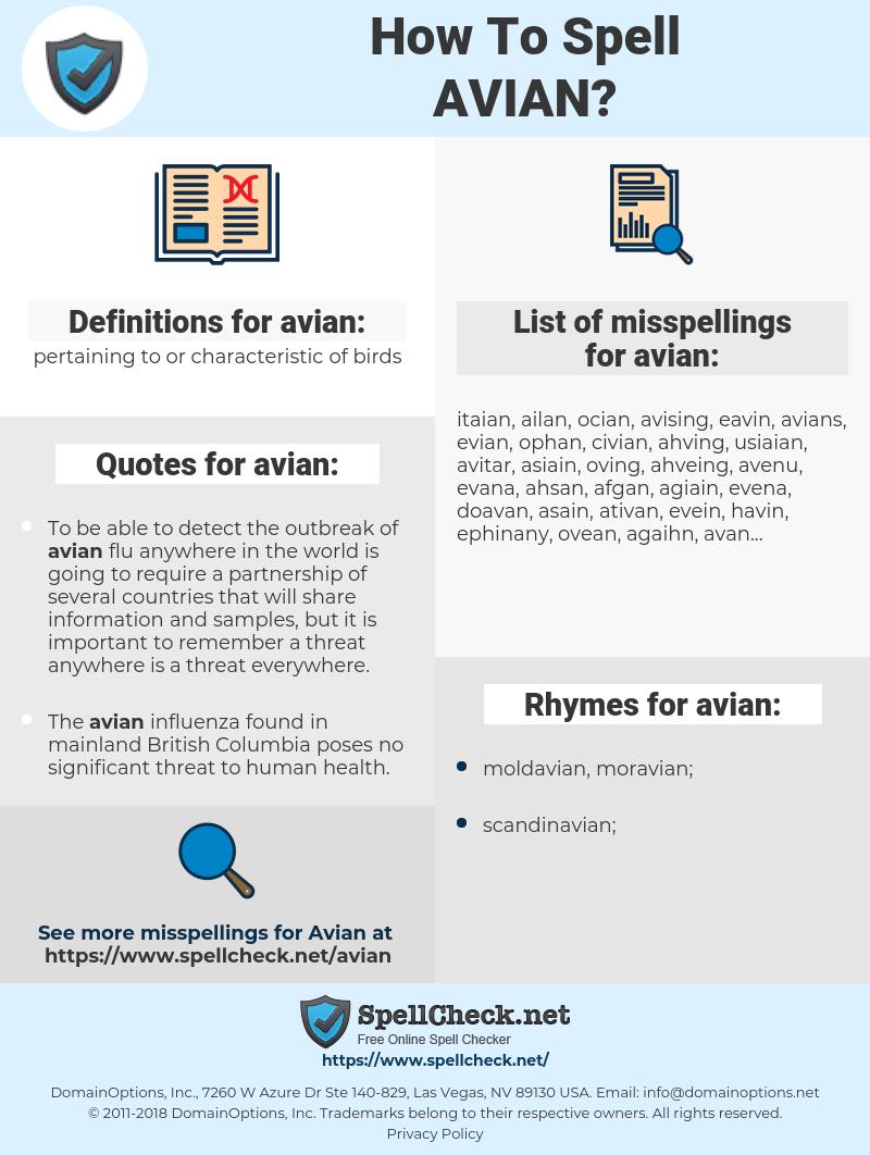 avian, spellcheck avian, how to spell avian, how do you spell avian, correct spelling for avian