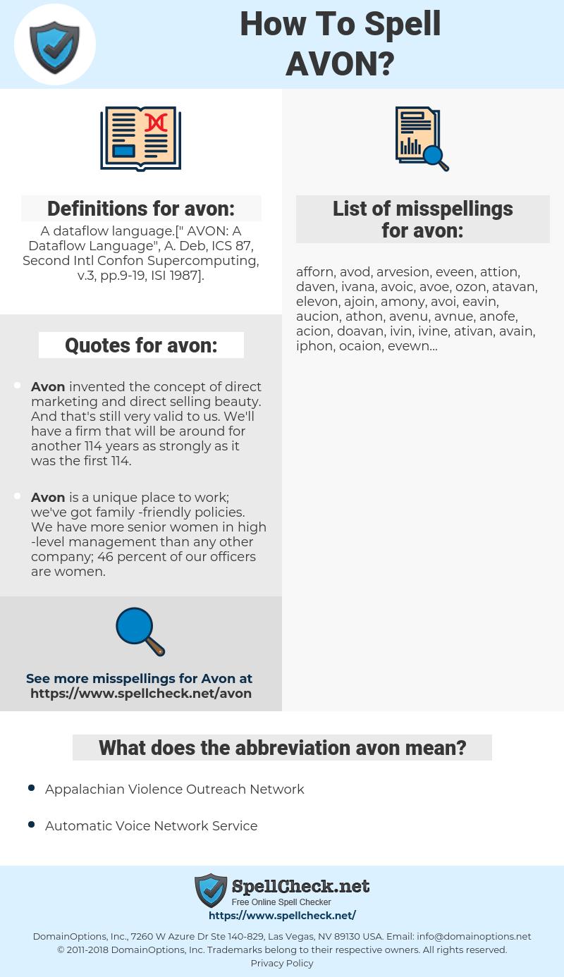 avon, spellcheck avon, how to spell avon, how do you spell avon, correct spelling for avon