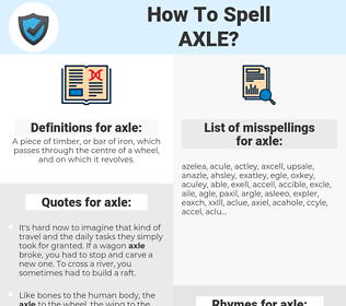 axle, spellcheck axle, how to spell axle, how do you spell axle, correct spelling for axle