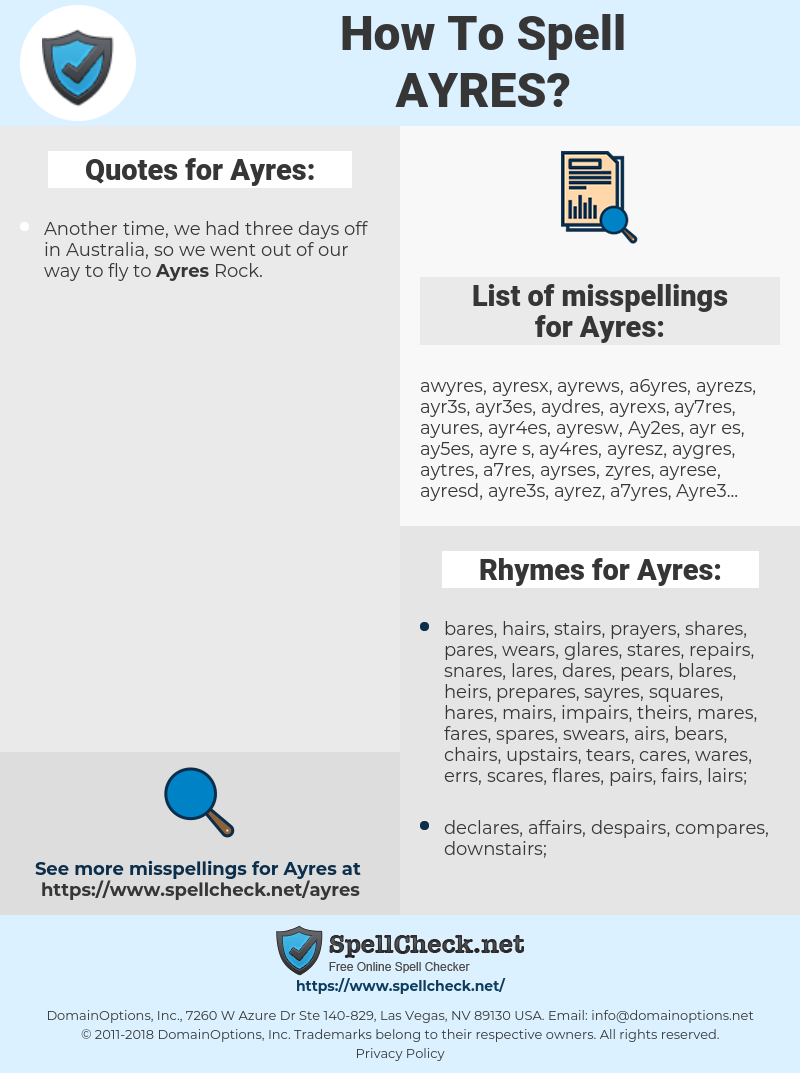 Ayres, spellcheck Ayres, how to spell Ayres, how do you spell Ayres, correct spelling for Ayres