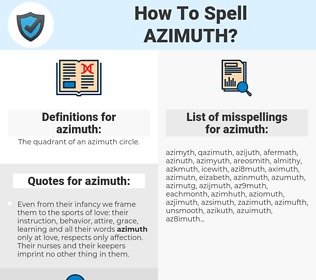 azimuth, spellcheck azimuth, how to spell azimuth, how do you spell azimuth, correct spelling for azimuth