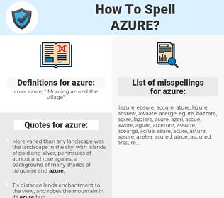 azure, spellcheck azure, how to spell azure, how do you spell azure, correct spelling for azure