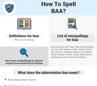 baa, spellcheck baa, how to spell baa, how do you spell baa, correct spelling for baa