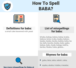 baba, spellcheck baba, how to spell baba, how do you spell baba, correct spelling for baba