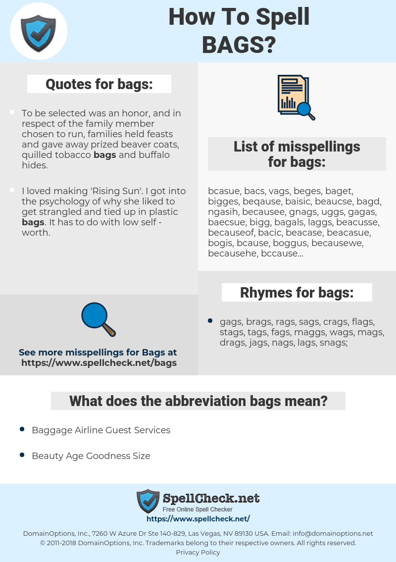 bags, spellcheck bags, how to spell bags, how do you spell bags, correct spelling for bags